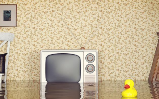 photo illustration of flooded living room