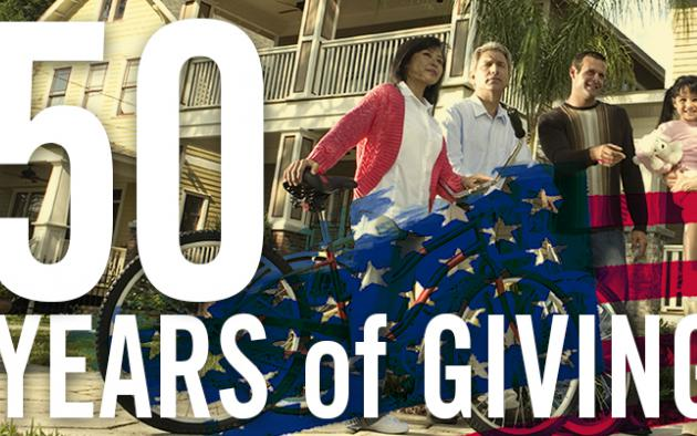 "People standing in front of house with illustrative overlay of american flag plus words ""PAC 50 years of giving"""