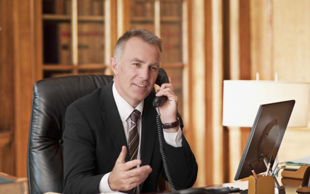 Lawyer on phone