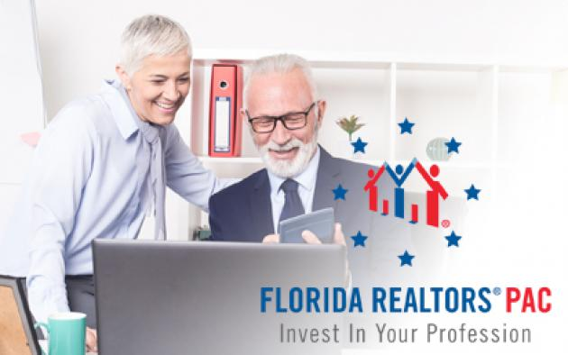 Man and woman with calculator and computer with Florida Realtors PAC logo