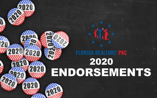 2020 Florida Realtors PAC endorsements with 2020 buttons
