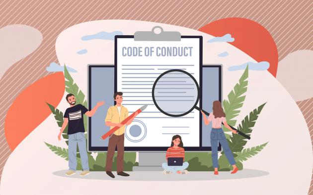 People with magnifying glass looking at code of conduct illustration