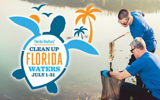 Florida Realtors Clean Up Florida Waters logo with people picking up debris near waterfront