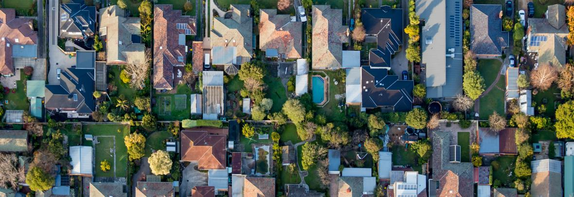 aerial view of subdivision in suburbs