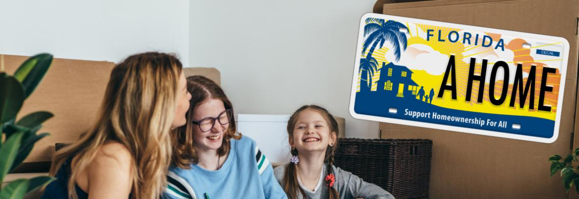 family in new home laughing with overlay of license plate