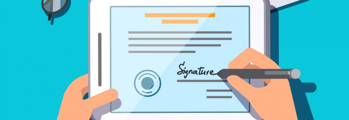 illustration of someone signing a contract on a tablet