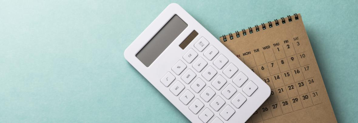 photo illustration of a calculator and a calendar