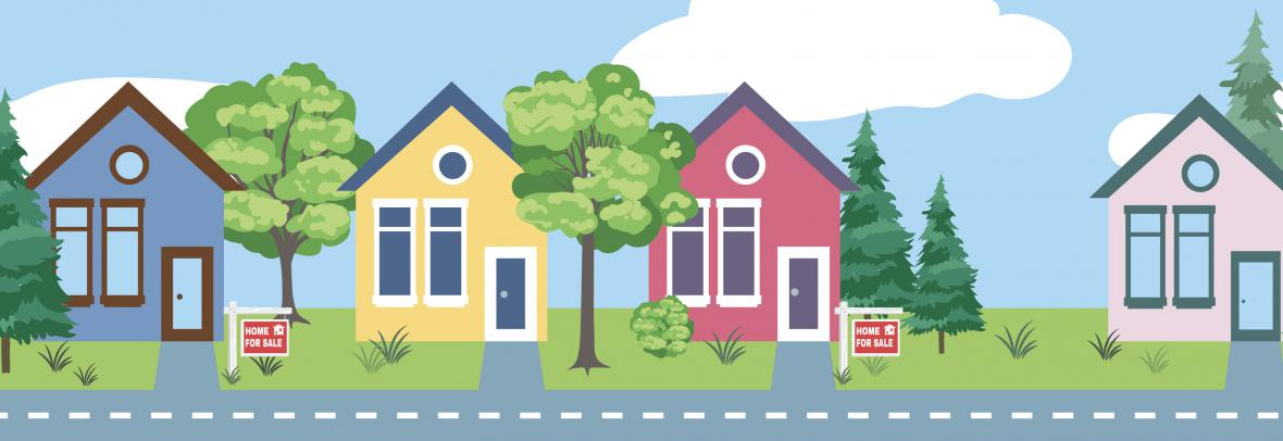illustration of houses for sale