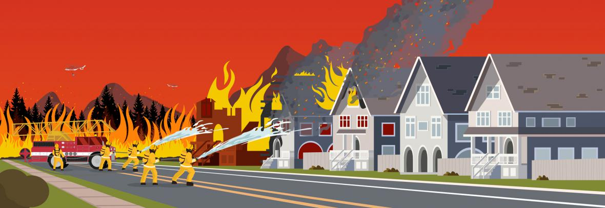 illustration of firefighters battling house fire