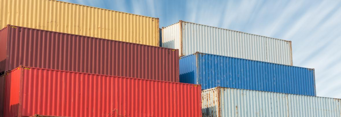 stack of colorful shipping containers
