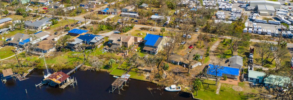 aerial view of hurricane michael damage