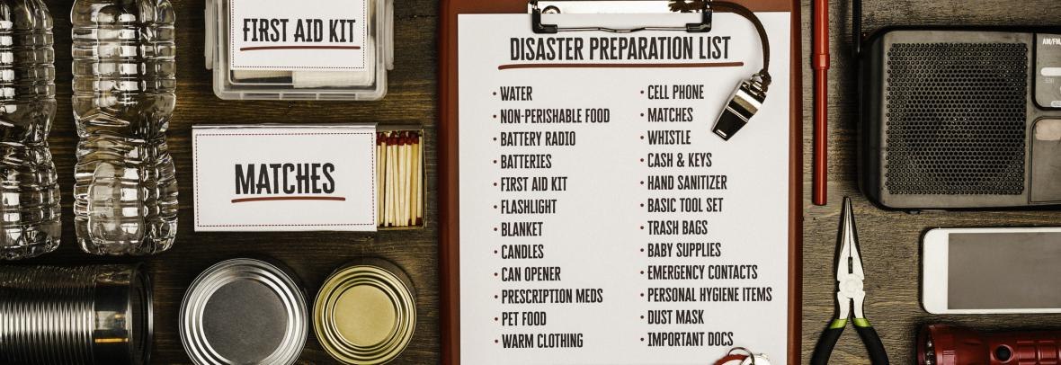 collage of hurricane supplies