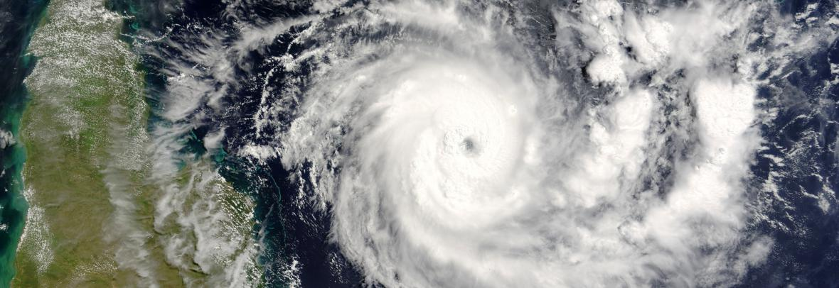 satellite image of a hurricane