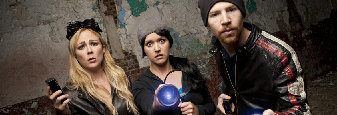 two female and one male paranormal investigator