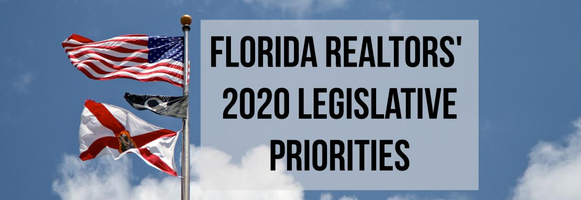 Florida flag with Florida Realtors' 2020 Legislative Priorities