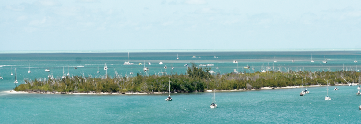 Boats surround Wisteria Island, Florida
