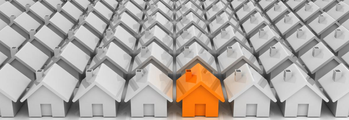 orange house in rows of white houses illustration