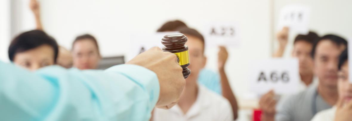 Bidders face a hand with a gavel during auction