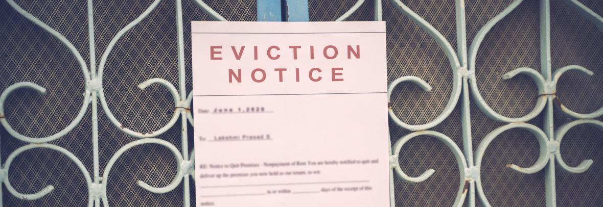 eviction notice posted on screen door