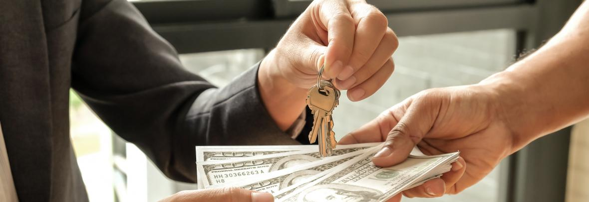 Buyers and sellers give dollar money,Sellers give keys.