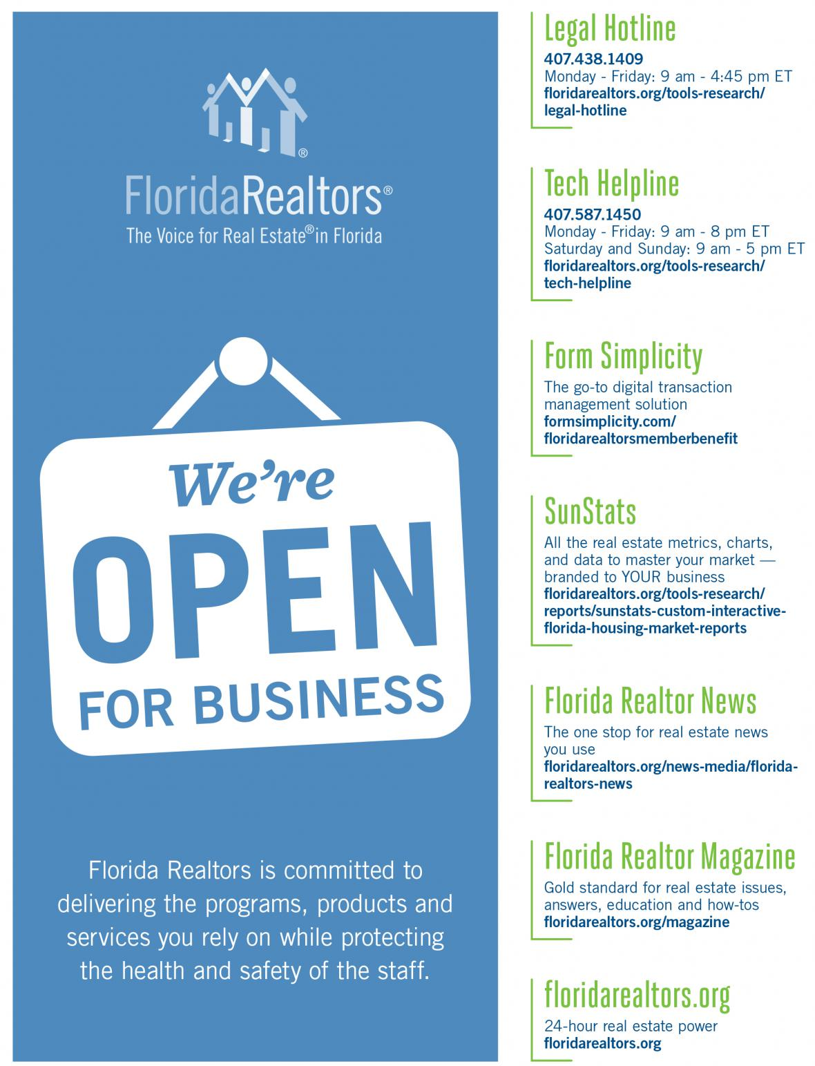 Graphic detailing information about key Florida Realtors programs, products and services