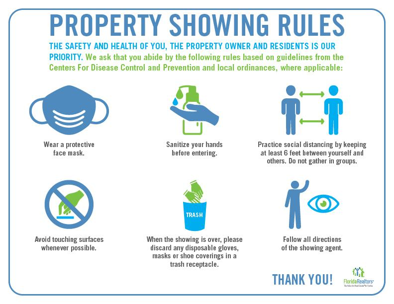 Property showing rules poster