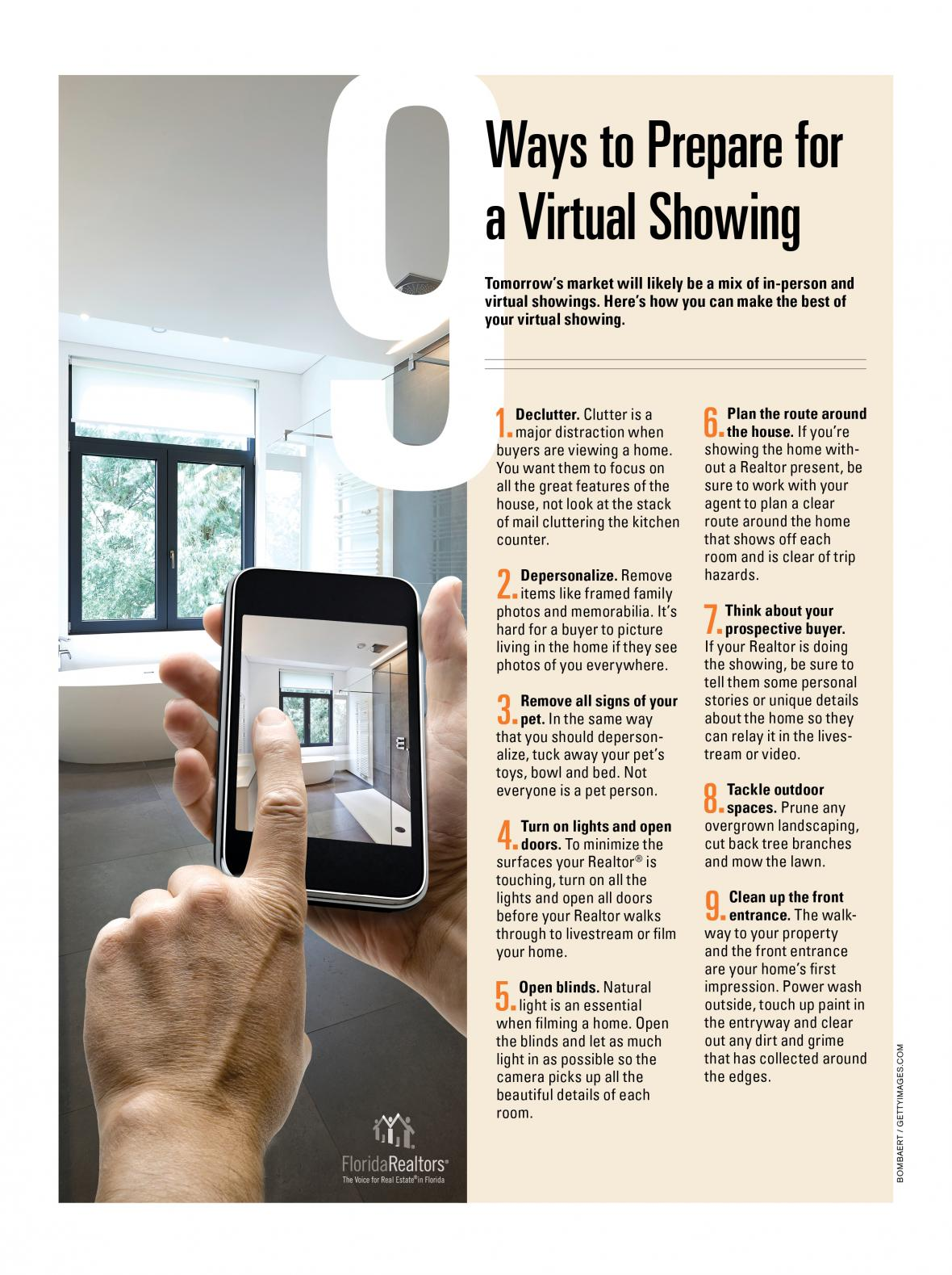 9 Ways to Prepare for a Virtual Showing infographic