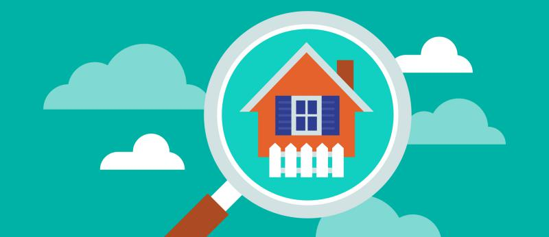 llustration of real estate search with magnifying glass