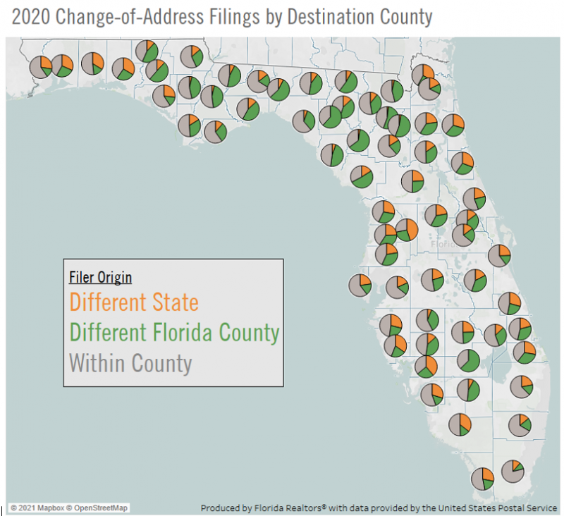 Florida map with piece charts by county showing where new residents come from