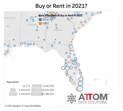 Florida map with blue circles for cities where it's better to buy