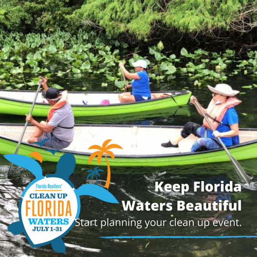 People in kayaks with text Keep Florida Waters Beautiful - Start Planning Your Clean Up Effort