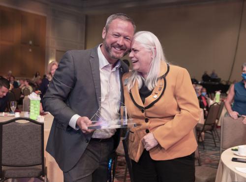 2020 President Barry Grooms with 2021 President Cheryl Lambert
